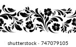 outline floral seamless pattern.... | Shutterstock .eps vector #747079105