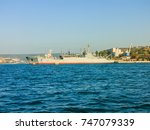 military navy ships in a sea... | Shutterstock . vector #747079339