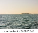 military navy ships in a sea... | Shutterstock . vector #747079345