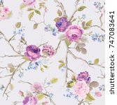 violet roses flowers texture... | Shutterstock .eps vector #747083641
