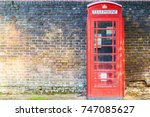 traditional red telephone box... | Shutterstock . vector #747085627