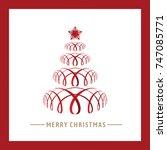red ribbon of christmas tree... | Shutterstock .eps vector #747085771