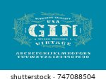 stencil plate serif font and... | Shutterstock .eps vector #747088504