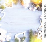 holiday background with... | Shutterstock . vector #747090211