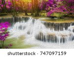 huay mae kamin waterfall in... | Shutterstock . vector #747097159
