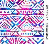 boho textile seamless pattern.... | Shutterstock .eps vector #747112135