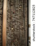 Small photo of Background/texture of rusting staples on a wooden pole used often as a public notice bard.