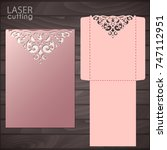 die laser cut wedding card... | Shutterstock .eps vector #747112951