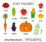 cute vegetables vector set. ... | Shutterstock .eps vector #747120751