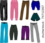 trousers icons vector | Shutterstock .eps vector #74712307