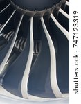 Small photo of Turbine fan blades of aircraft engine