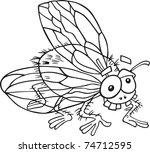 fly for coloring book | Shutterstock . vector #74712595