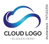 blue cloud tech logo vector   | Shutterstock .eps vector #747131554