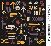 colorful arrow set. color can... | Shutterstock .eps vector #747134344