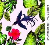 fashion print. watercolor... | Shutterstock . vector #747135895