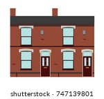 typical uk victorian terraced... | Shutterstock .eps vector #747139801