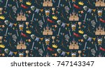 knight pattern with castle ... | Shutterstock .eps vector #747143347