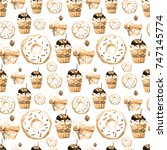 sweet seamless pattern with... | Shutterstock . vector #747145774