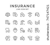set line icons of insurance | Shutterstock .eps vector #747147421