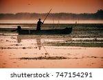 traditional fishermen catching... | Shutterstock . vector #747154291