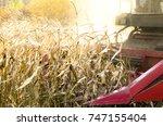 combine harvester working on...   Shutterstock . vector #747155404