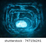 open tomb stone at night... | Shutterstock . vector #747156241