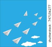 vector of paper airplane as a... | Shutterstock .eps vector #747156277
