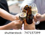 friends with party drinks young ... | Shutterstock . vector #747157399