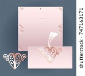 rose invitation with cutout...   Shutterstock .eps vector #747163171