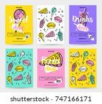 set of colorful fast food... | Shutterstock .eps vector #747166171