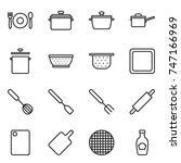 thin line icon set   cafe  pan  ... | Shutterstock .eps vector #747166969