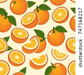 orange fruit pattern. sweet... | Shutterstock .eps vector #747168217