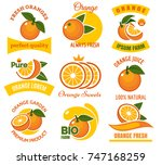 orange slice products emblems.... | Shutterstock .eps vector #747168259