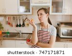 the young confused and pensive... | Shutterstock . vector #747171871