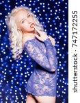 sexy blonde in blue lingerie...   Shutterstock . vector #747172255