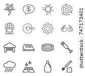 thin line icon set   24 7 ... | Shutterstock .eps vector #747173401