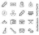 thin line icon set   pencil ... | Shutterstock .eps vector #747173479