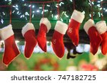 seven red and white christmas... | Shutterstock . vector #747182725