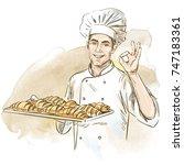 smiling baker holding plate... | Shutterstock .eps vector #747183361