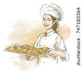 smiling baker woman holding... | Shutterstock .eps vector #747183364