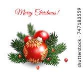 vector background in christmas... | Shutterstock .eps vector #747183559