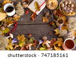 autumn background with leaves ... | Shutterstock . vector #747185161