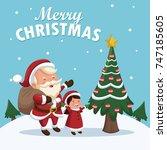 merry christmas cartoon | Shutterstock .eps vector #747185605
