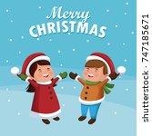 merry christmas cartoon   Shutterstock .eps vector #747185671