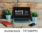 black friday advertisement in a ... | Shutterstock . vector #747186991