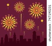 fireworks on the city | Shutterstock .eps vector #747190231