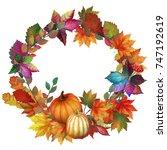 autumn wreath with pumpkins    Shutterstock . vector #747192619