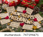 new year's resolutions | Shutterstock . vector #747194671
