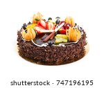 chocolate cake with fresh fruit ... | Shutterstock . vector #747196195