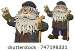 homeless man. the tramp  bum. | Shutterstock .eps vector #747198331